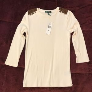 Ralph Lauren off white faux suede on shoulders top